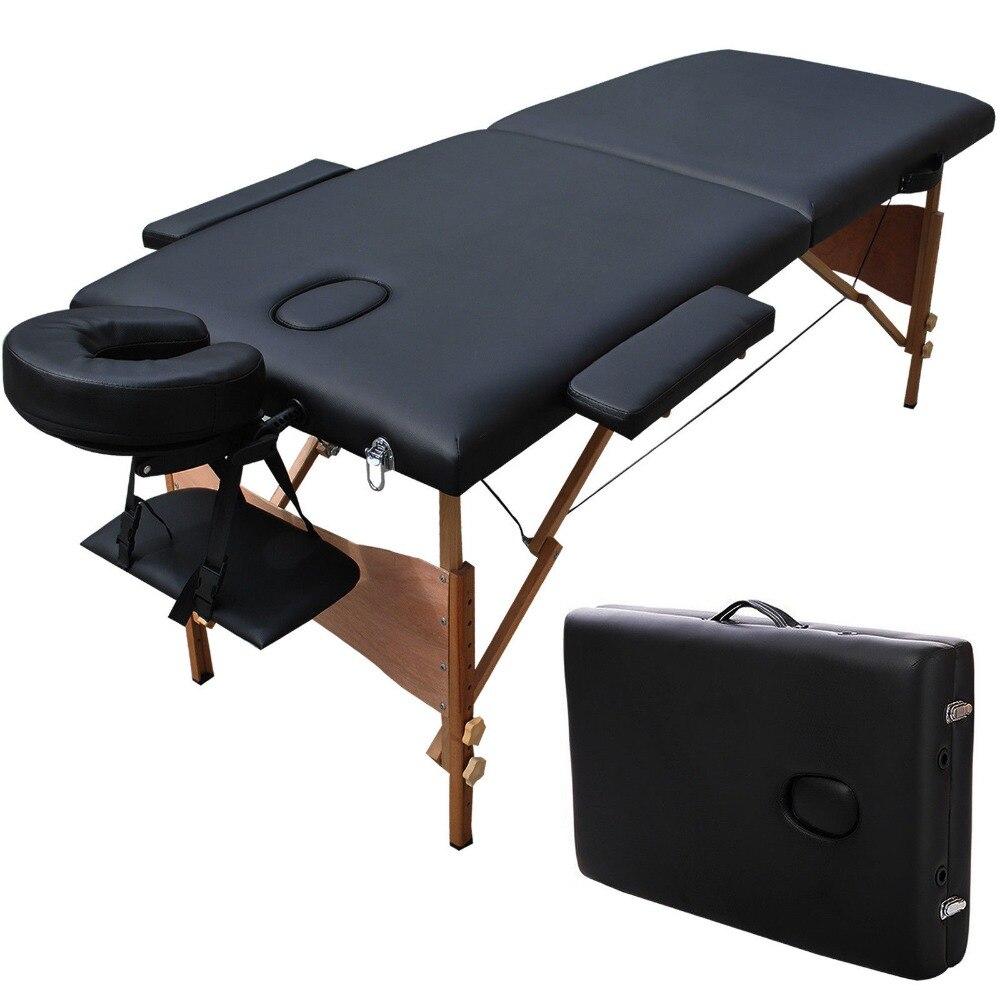 70cm Wide 3 Fold Portable Massage Table Hardwood Frame Adjustable ...