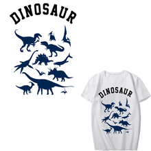 Iron on Transfer Dinosaur Patches for Clothing DIY T-shirt Appliques Jurassic Park Patch Stickers Stripes Clothes Heat Press