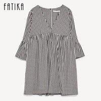 FATIKA Women Summer V Neck Flare Sleeve Loose Dress Ladies Casual Plaid MIni Dresses