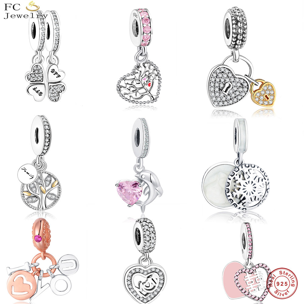 FC Jewelry Fit Original pandora Charms Bracelet 925 Sterling Silver Family Heart Tree of Life Mom Lockets Beads Necklace Pendant strollgirl car keys 100% sterling silver charm beads fit pandora charms silver 925 original bracelet pendant diy jewelry making