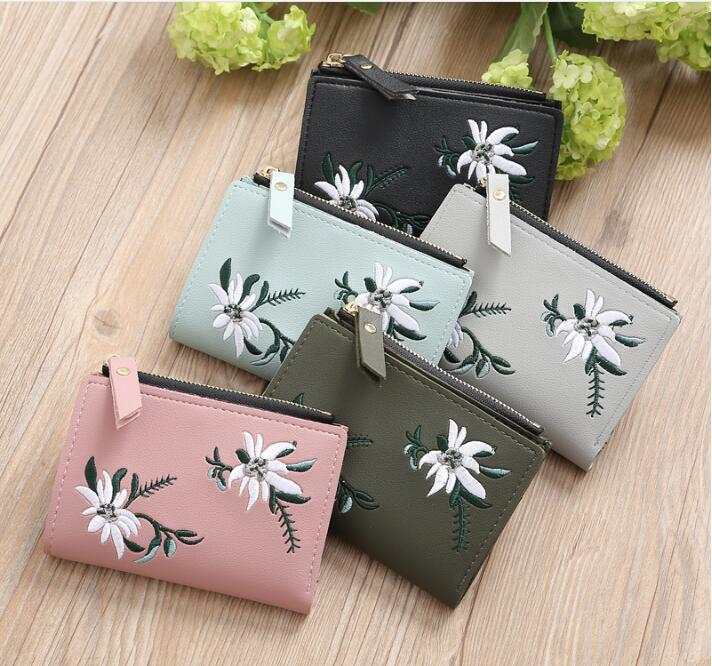 Embroidery Short Wallet PU Leather Wallets Female Floral Coin Purse Zipper Bag Card Holders bentoy brand women short wallet hologram pu moon embroidery pearl wallet female zipper clutch coin purse laser card holder bag