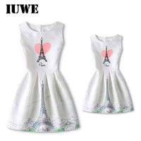 Summer Girl Dress Pink LOVE Heart Print Eiffel Tower Pattern Dresses For Baby Casual Style Kids