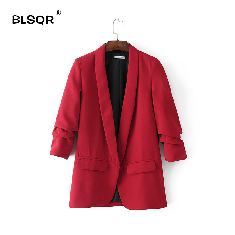 BLSQR Red Chiffon Formal Blazer Women's Business Suit Slim Long-Sleeve Jacket Suits Office Suit For Women Clothes