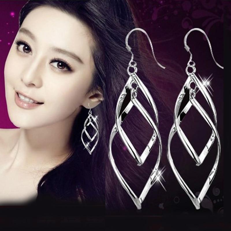 Fashion Jewelry Long Tassel Earrings Twisted Silver Hollow