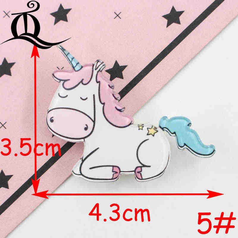 1 pz icone Badge Cartoon sul perno distintivi acrilici distintivi per abbigliamento spille Kawaii spilla in Pvc, unicorno su stoffa e borsa Z41