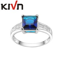 KIVN Fashion Jewelry Blue Pave CZ Cubic Zirconia Bridal Wedding Engagement Rings for Women Christmas Birthday Mothers Day Gifts