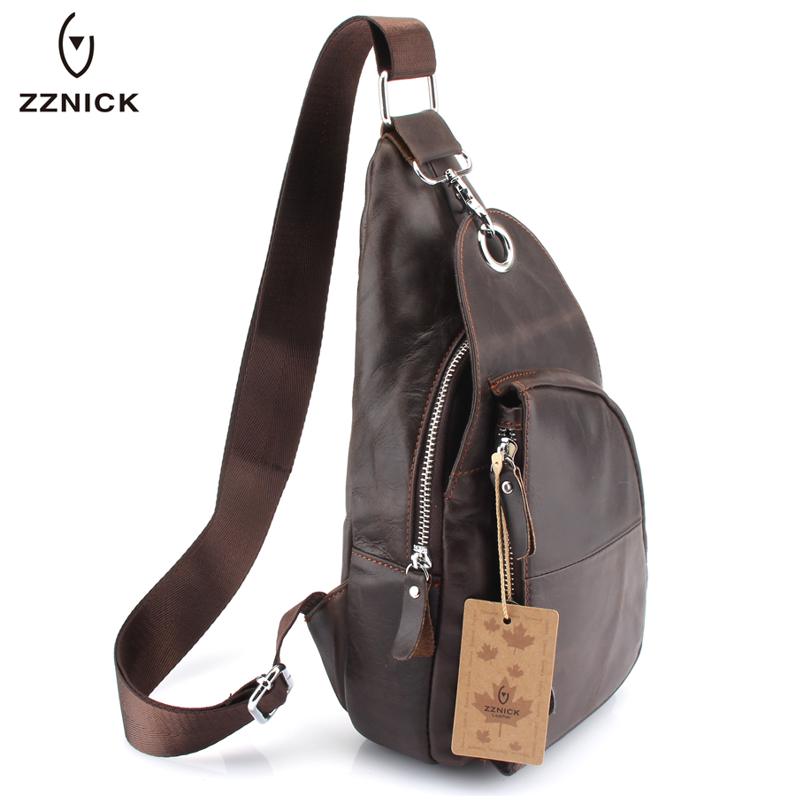 ZZNICK New 2017 Genuine Leather Casual Cowhide Chest Pack Large England Style Men Cross Body Mobile Bag Men