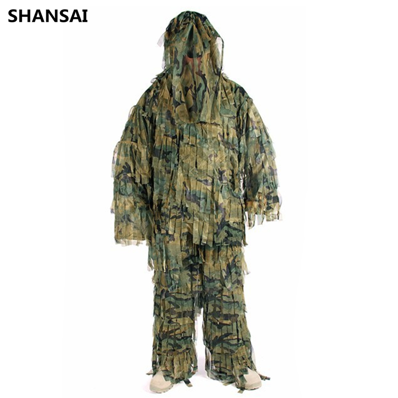 SHANSAI Bionic Ghillie Suits Stripes Camouflage Hunting Suit  Recon Photographing Military Battle Fatigues outdoor military jungle 3d bionic leaf hunting ghillie suits sniper woodland camouflage shade hunt clothing survival training