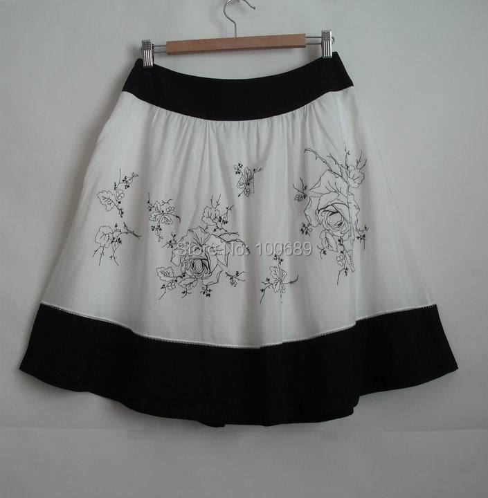 a5d416ad2aa80c Silk Cotton Casual Party Skirt Knee Length Handmade Embroidery Side Zip Plus  Size Fully Lined Top Quality Top Branded ES20-in Skirts from Women's  Clothing ...