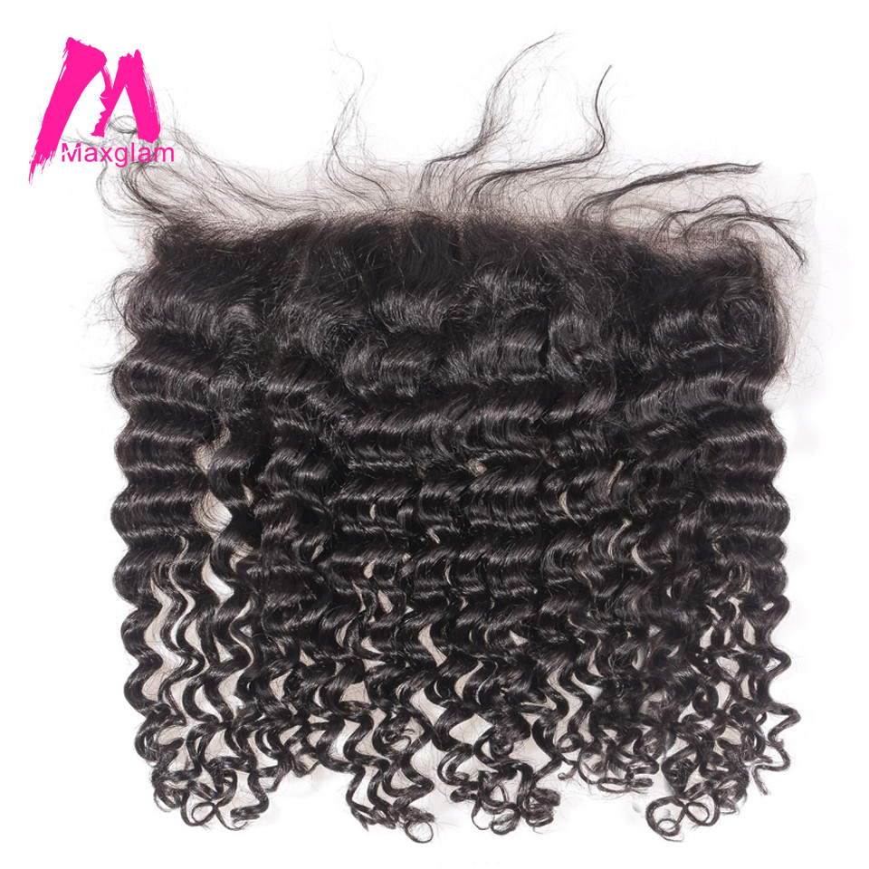 Maxglam Brazilian Deep Wave Remy Human Hair 13x4 Lace Frontal Closure With Pre Plucked Baby Hair