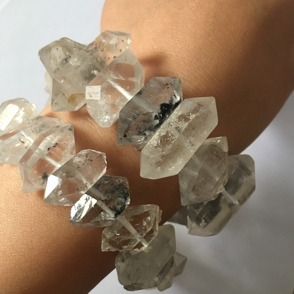 Natural Rare quartz crystal stones double points Herkimer Diamond bracelet for healing gifts