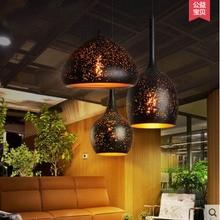Nordic loft retro hierro grabado pantalla colgante luz sola cabeza luces colgantes restaurante bar cafe bar industrial óxido