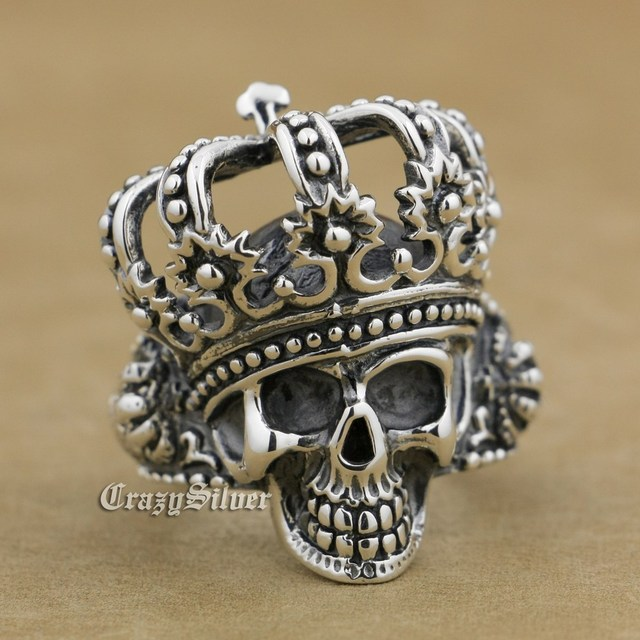 925 Sterling Silver King Skull Crown Mens Biker Ring 9W003 US Size 7.5 to 13