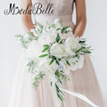 Gorgeous Wedding Bouquets For Brides Green White Artificial Peony Kunstmatige Bruidsboeketten Bridal Bridesmaid Flower Bouquet
