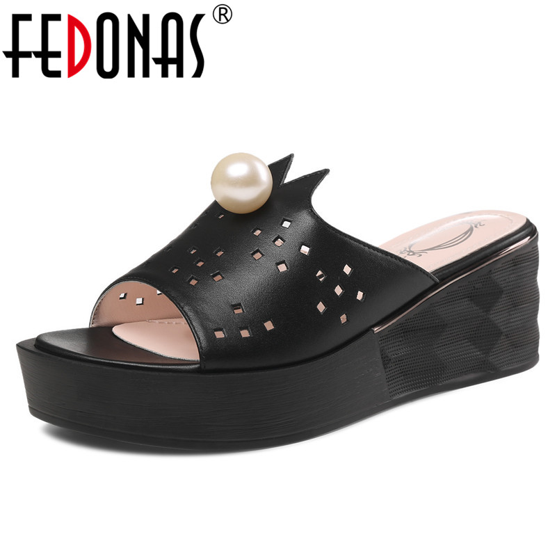 FEDONAS New Fashion Concise Genuine Leather Women Sandals 2019 Summer Platforms Slippers Party Shoes Woman Basic High HeelsFEDONAS New Fashion Concise Genuine Leather Women Sandals 2019 Summer Platforms Slippers Party Shoes Woman Basic High Heels