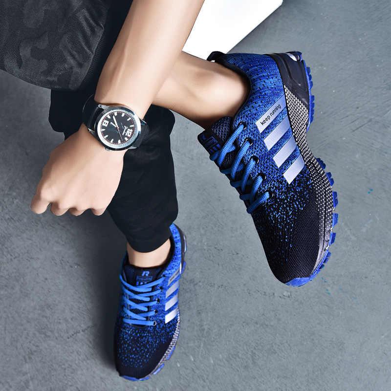 Мужская Спортивная обувь 2019 Воздухопроницаемая сетчатая уличная Мужская обувь для бега удобная мужская обувь на шнуровке весенне-осенние мужские кроссовки