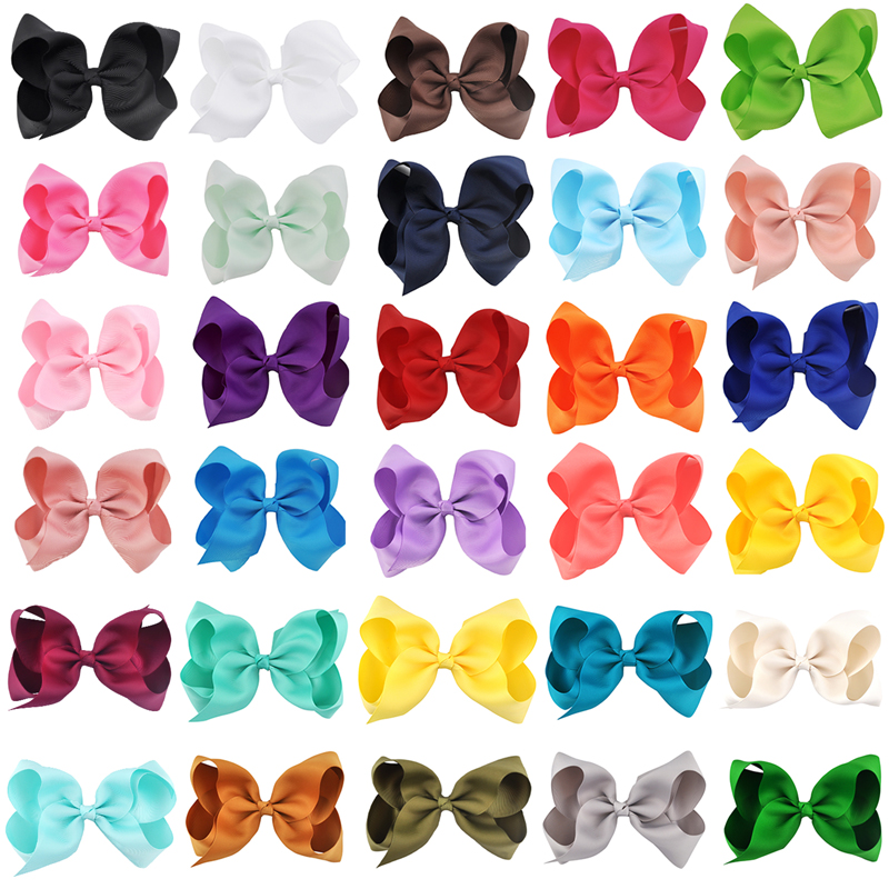 30 Pcs/lot 6 Inch Girls Hairbow Children Hair Clips Kids Newborn Hairpins Girls Hair Bows Clips Hair Accessories FJ1001 12pcs lot 4 inch diy grosgrain ribbon bow with clip kids hairpins children hair accessories 12 colors hairpins factory wholesale