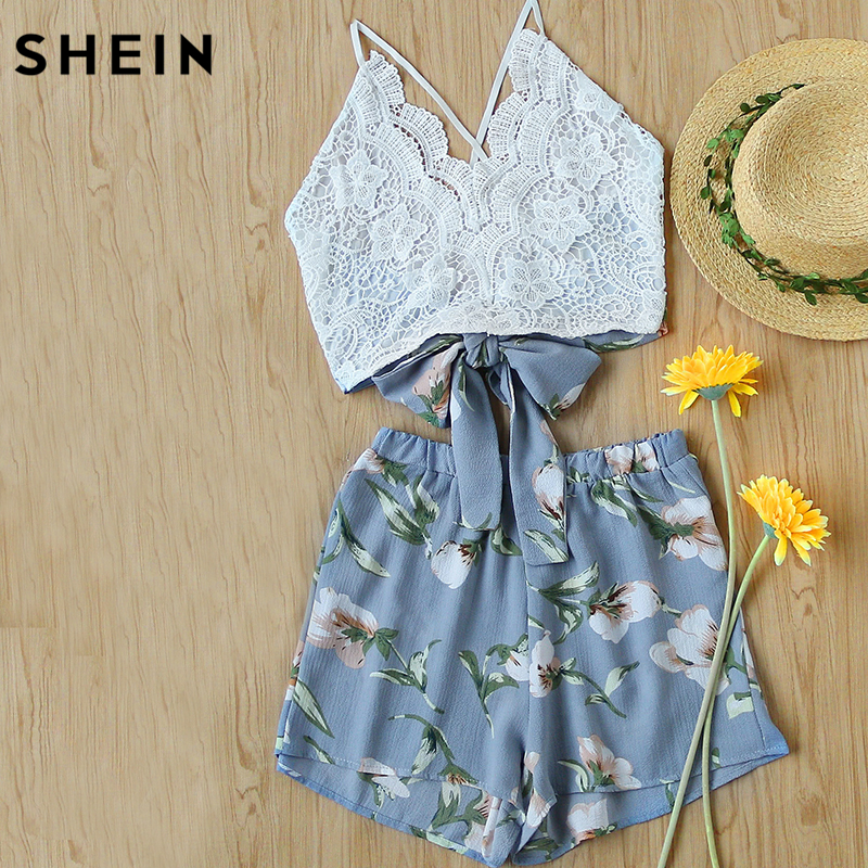 SHEIN 2 Piece Set Women Summer Boho Sleeveless Lace Panel Crisscross Bow Tie Back Halter Crop