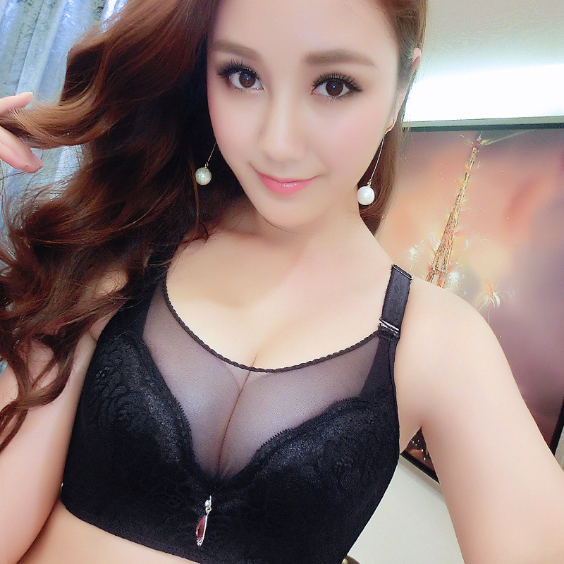 Hot New Sexy Ladies Big Size 3/4 Cup Lace Push Up <font><b>Bra</b></font> Women Black Bralette Deep V <font><b>Bras</b></font> Underwear Large Cup 90B <font><b>95C</b></font> image