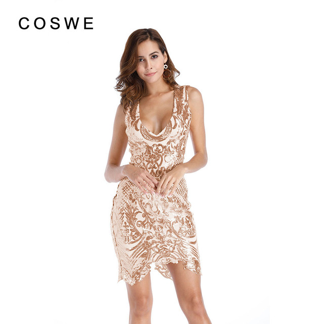 c4e359c38c833 COSWE V Neck Sleeveless Tunic Mini Women Sexy Party Dress Vintage Gold  Geometric Sequin Flapper Dress