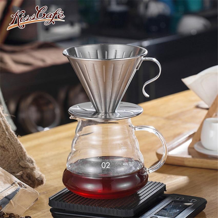 Goutteur tasse inox cafetière V60 café goutte à goutte café infuseur expresso filtres café accessoires