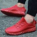 De alta Calidad de Los Hombres Ocasionales Atan Para Arriba Los Zapatos de LA PU de Cuero Plano Zapatos para caminar Hombre Entrenadores Sport Canasta Femme Superstar Zapatos Rojos inferior