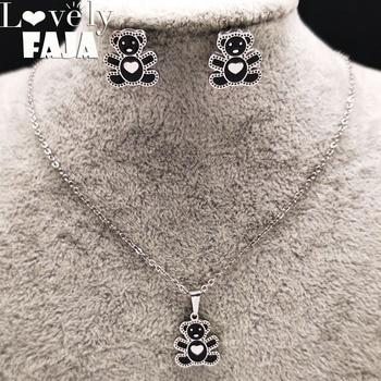 3b4b820522e5 2019 Oso de acero inoxidable conjunto de joyas de esmalte de las mujeres  negro collar pendiente conjunto de joyas de acero inoxidable joyeria  conjuntos ...