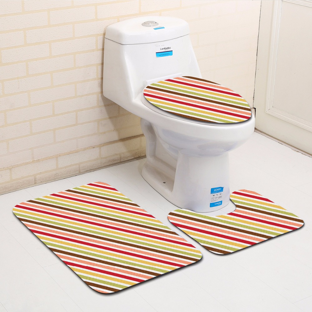 Simple Stripe Bathroom Toilet Mat 3 Pieces / Set Ultra-Soft Flannel Non-Slip Bath Rugs and Toilet Cover Foot Mat