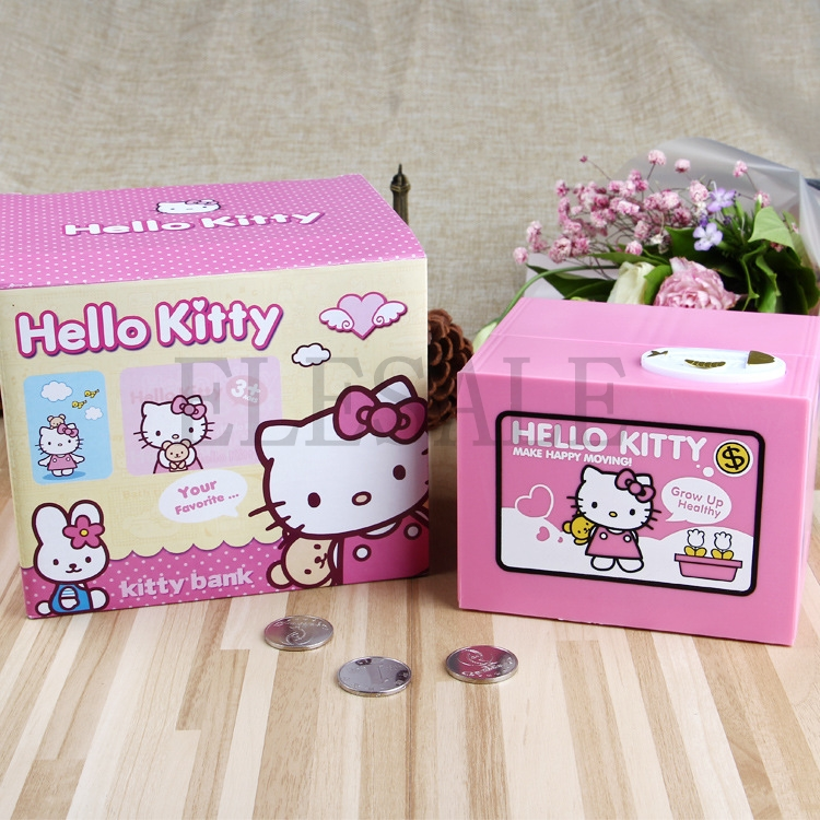 2018 Hello Kitty Brand New Steal Coin Piggy Bank Electronic Plastic Money Safety Box Coin Bank Money boxes novelty gag toys automated cat steal coin bank piggy bank moneybox money saving box digital coin jar alcancia de gato kids gifts