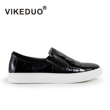 Vikeduo 2019 hot sales Handmade Flat male leisure shoes Genuine Leather Fashion Comfortable Black skateboard Mens Casual Shoes