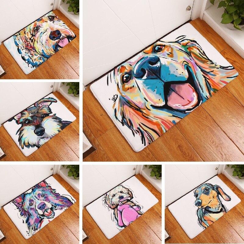 Bath Mat Cartoon Dog Printed Carpet Suede Absorbent Shower Bathroom Mat Toilet Rugs Kitchen Mat Home Decoration Wholesale