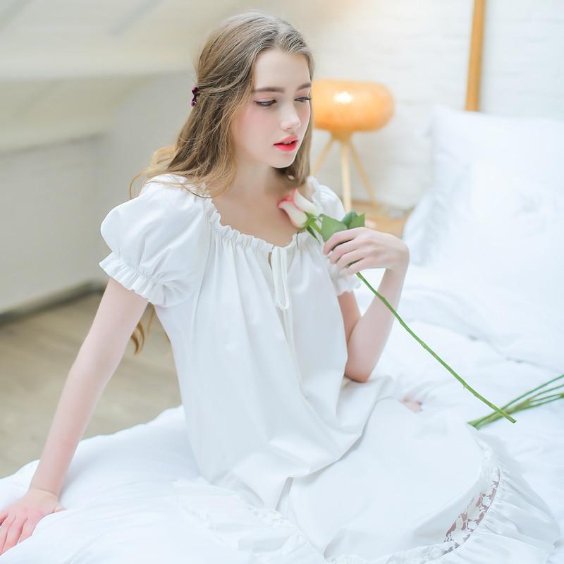Cotton Loose Nightgown Women Plus Size Short Sleeve Rest Dress