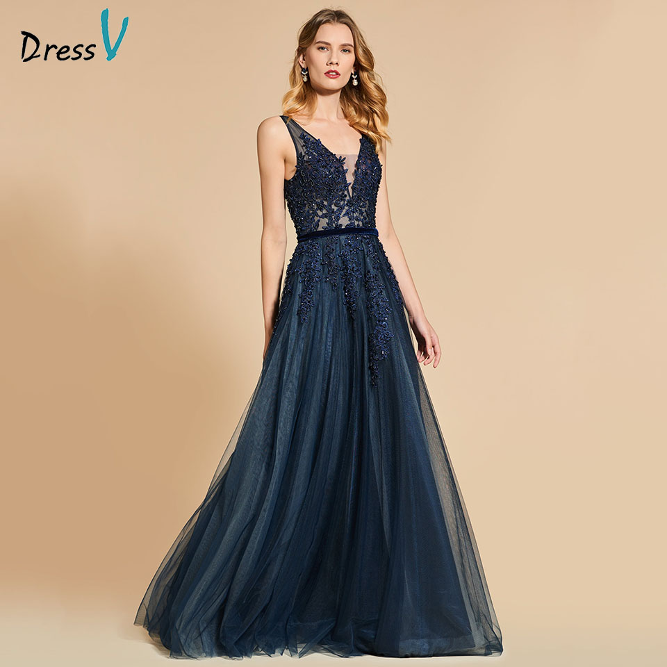 Dressv Navy Blue V Neck Evening Dress Sleeveless A Line Lace Backless Floor Length Wedding Party Formal Dress Evening Dresses
