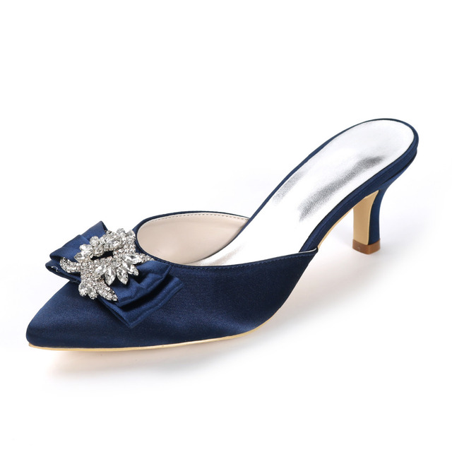 Creativesugar lady s mules satin dress evening shoes with crystal bow  elegant office pary heels prom pumps pointed toe meduim 06f997c9576c