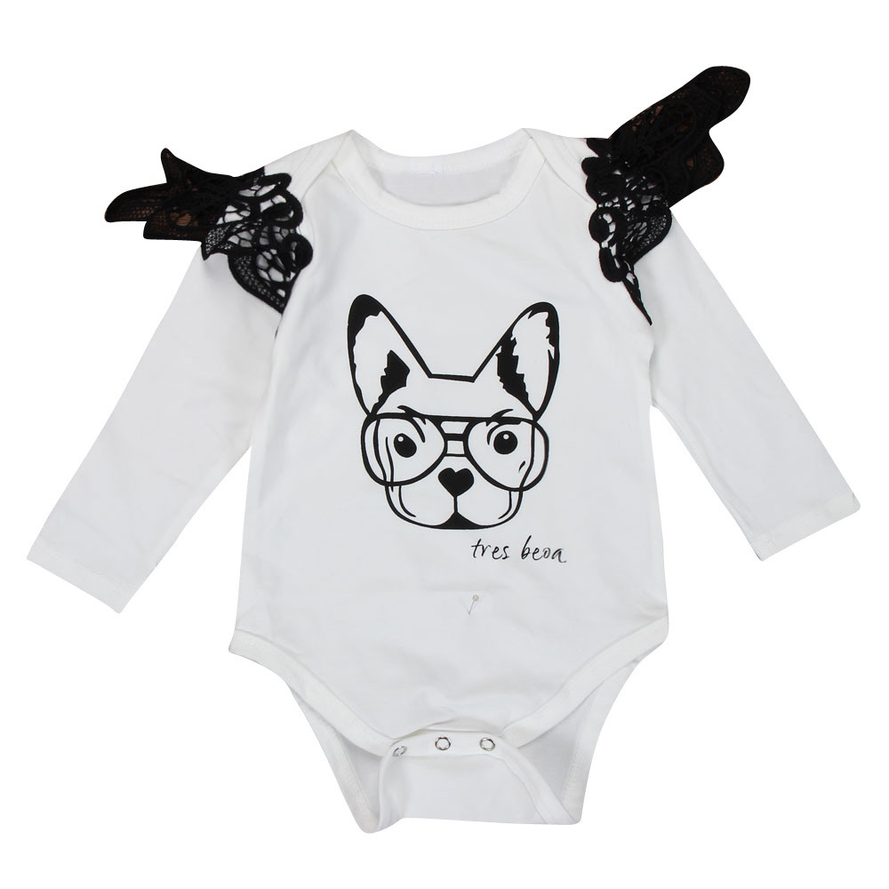 MUQGEW Newborn Baby Boy Girl Lace Cartoon Dog Long Sleeve Romper Jumpsuit Outfits Clothes Lace Baby Onesie Bebes