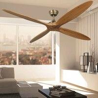 60 Inch Wooden Ceiling Fan Dc Remote Control Decorative Wood Ceiling Fans Without Light Fan Lamp 220V Ventilador De Techo