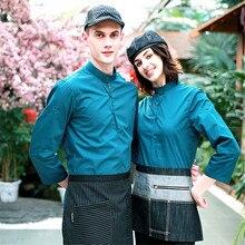 (5 get 10% off, 10 get apron)Man/woman long sleeve coffee shop restaurant hotel waiter shirt uniform work wear work clothes