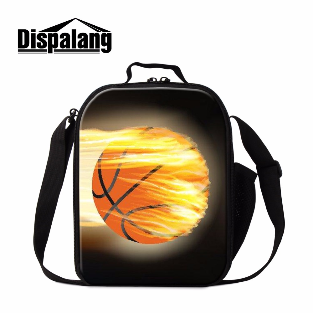Dispalang Basketbally Lunch Bag Patterns Cool Insulated Lunch Container for Kids Small Messenger Soccers Sporty Lunch Cooler Bag