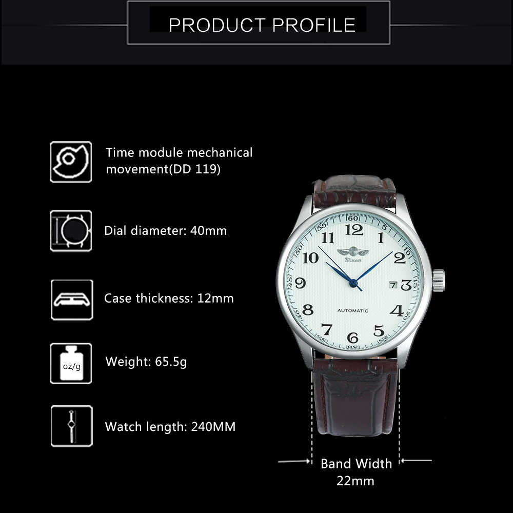 HTB1GN4DkQzoK1RjSZFlq6yi4VXaq Fashion Business Men Automatic Wrist Watches Leather Strap Male Mechanical Watches Calendar Date Clock montre homme +GIFT BOX