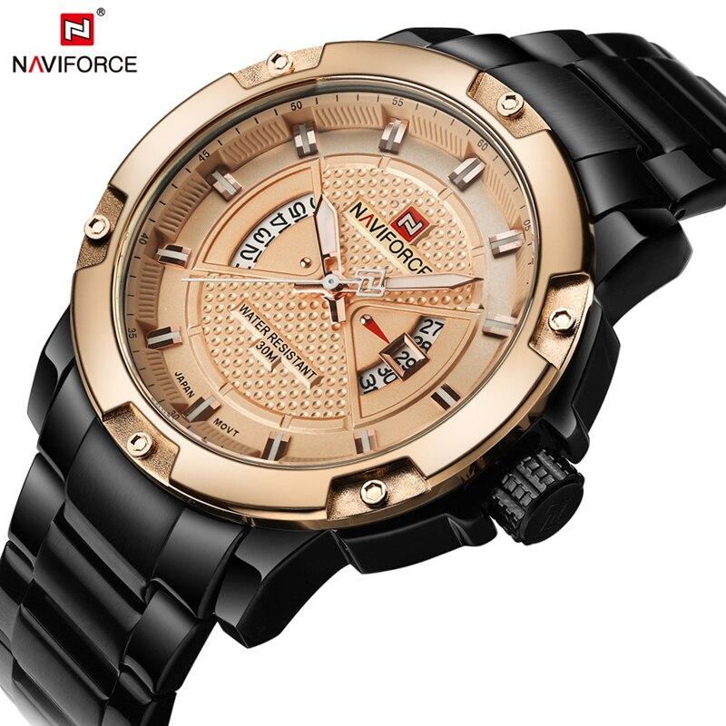 Топ люксовый бренд naviforce men полный стали часы мужские кварцевые аналоговые  часы человек мода золото спорт военный наручные часы мужчины  467bf76a35416