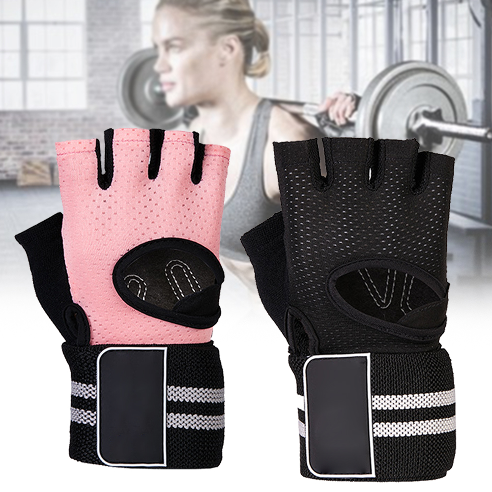1 Pair Universal Breathable Half Finger Gloves Portable Protective Weight Lifting With Wristband Gym Non Slip Professional