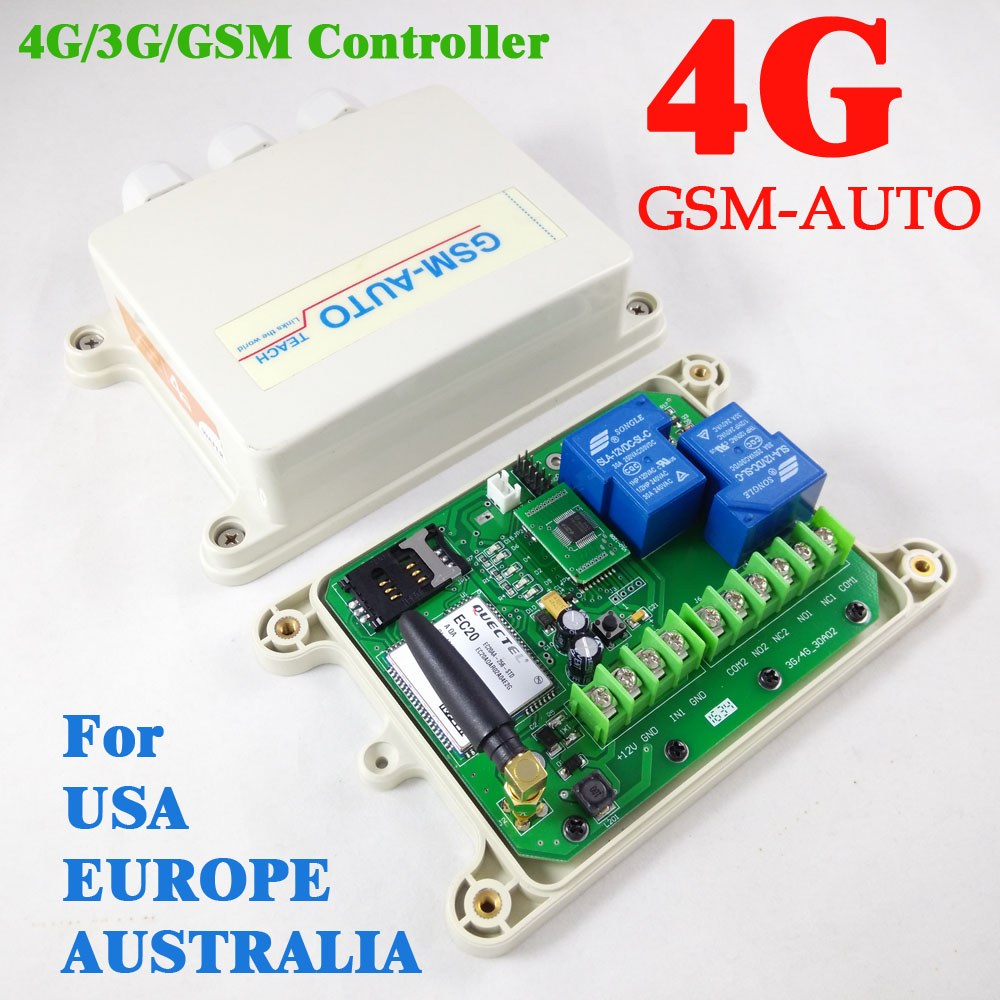 4G Version GSM AUTO Double Big relay GSM remote switch One alarm input port (On board clock for your timer working function )