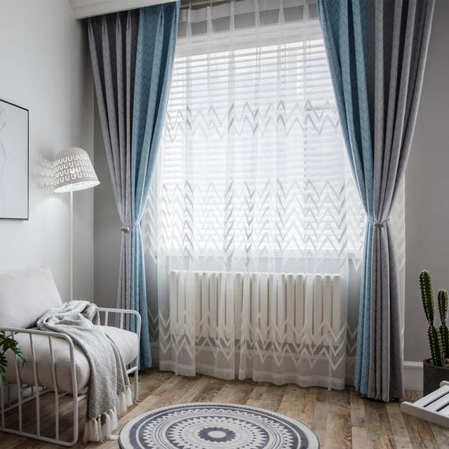 North Europe Ins Style Blue Grey Drapes Luxurious Jacquard Pop