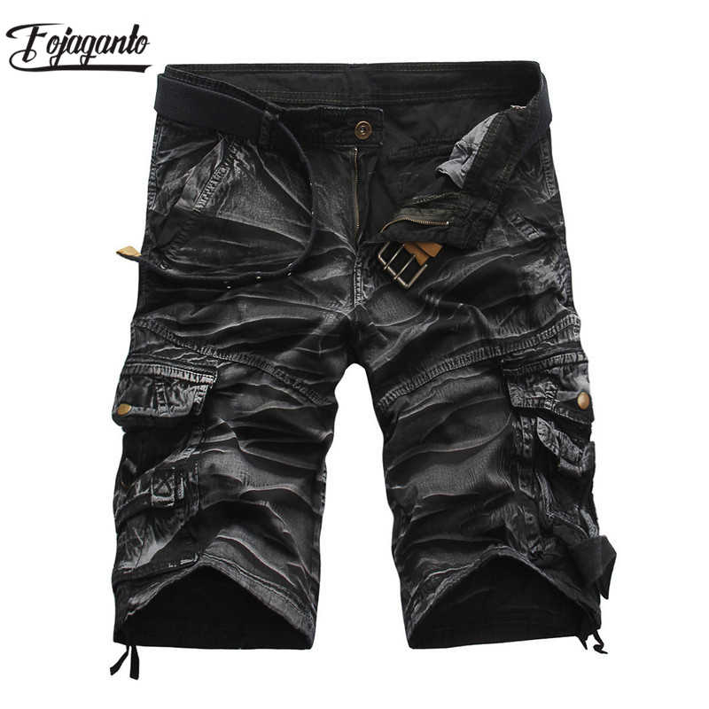 FOJAGANTO Quality Brand Men Cargo Shorts 2019 Summer Male Casual Shorts Waist Men's Street Cargo Short (No belt)