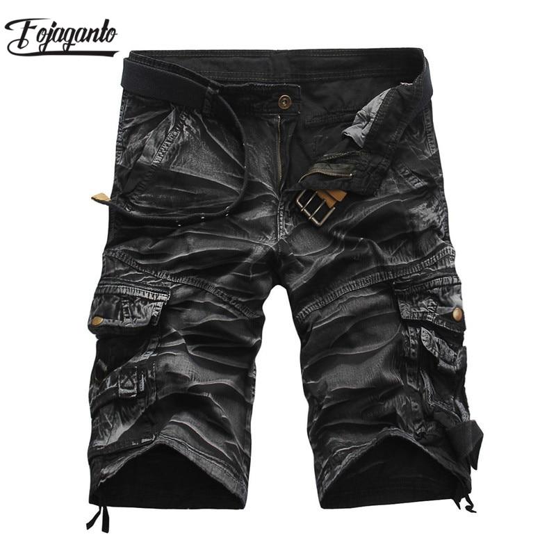 FOJAGANTO Quality Brand Men Cargo Shorts 2019 Summer Male Casual Shorts Waist Men's Street Cargo Short (No Belt)