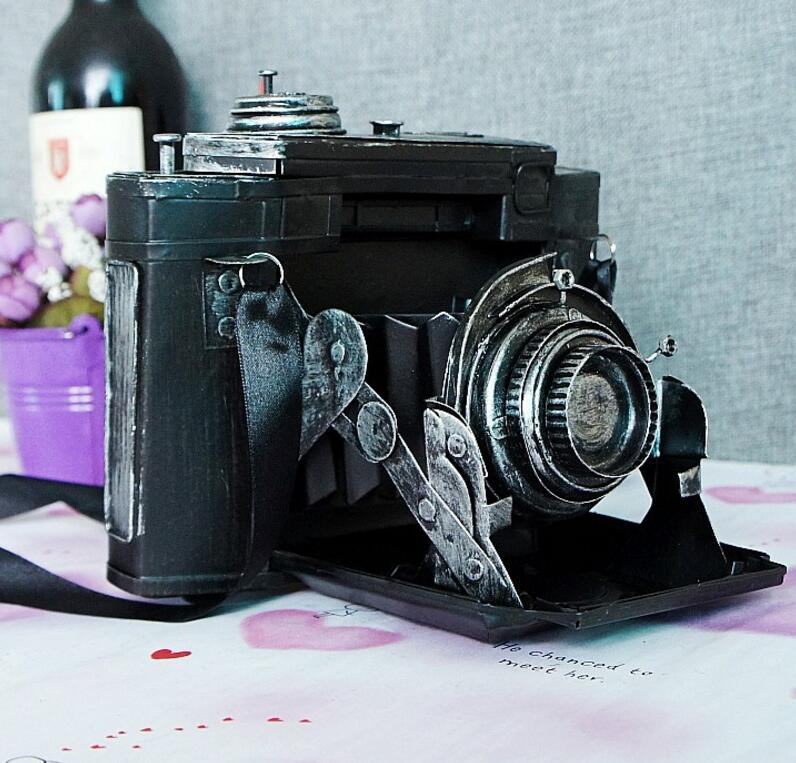 vintage retro classic Distressed movie prop antique camera hand made craft model for home coffee bar ornaments decoration