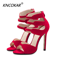 KNCOKAR Women Sandals Sexy High Heel Spring High Heeled Sandals With Big Red Wedding Shoes With Thin Pumps Party Shoes Wedding S