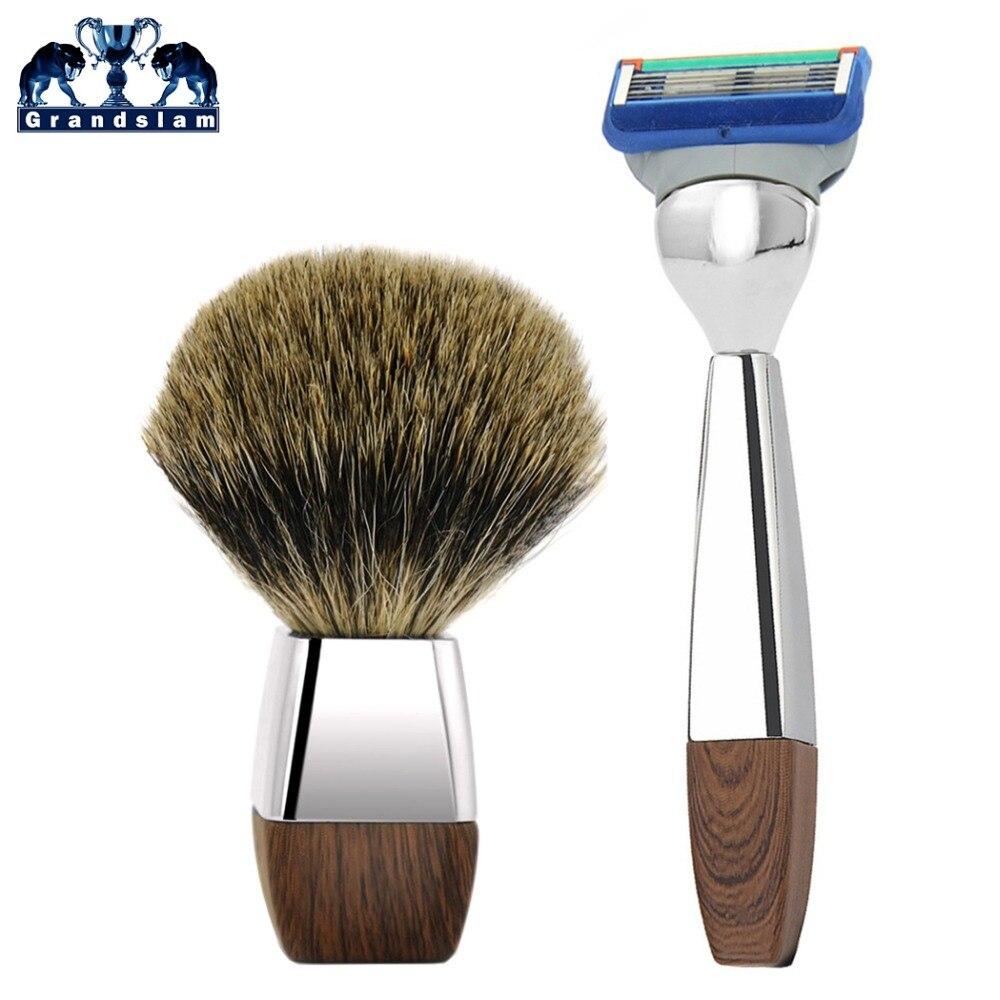 Grandslam Shaving Razor Set For Man Cartridge Fusion 5 Blade Razor + Best Badger Shaving Brush Shave Beard Kit 2pc set stainless steel man shaving safety razor and badger beard shave brush