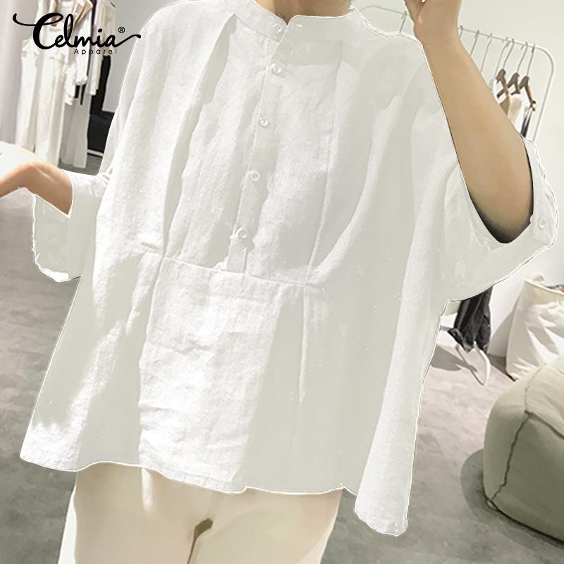 Cotton Linen Solid Blouse Loose Tops Casual Sexy Round Neck  Sleeve Pleated Shirt Celmia Elegant Office Work White Blusas