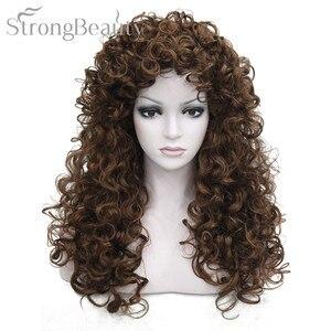 Image 1 - 強力な美容人工毛ロングカーリーブロンド茶黒かつらコスプレ女性のための